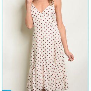 LAST ONE! Cream polka dot dress linen blend